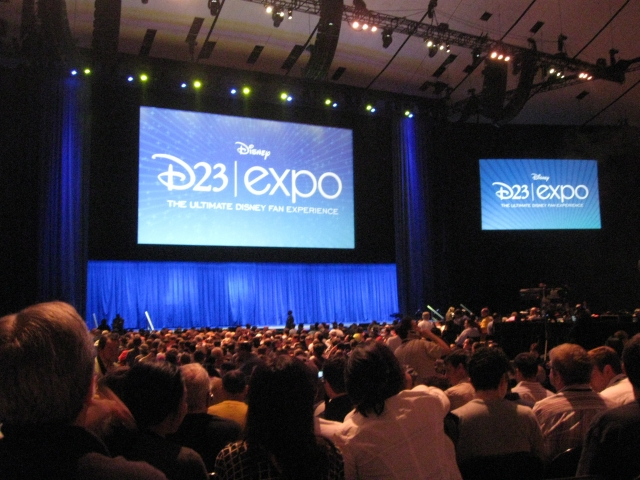 The D23 Arena as the audience waits for the speaker, Jay Rasulo, to come out.