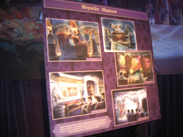 Mystic Manor concept boards were surrounded by several guests.