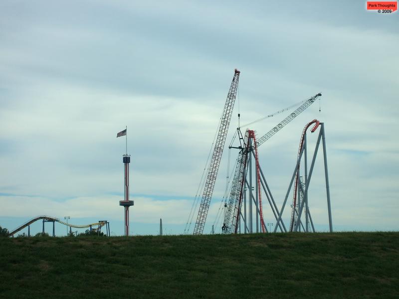 Intimidator dominates Nighthawk and even looks as tall as the park's centerpiece, Carolina Skytower